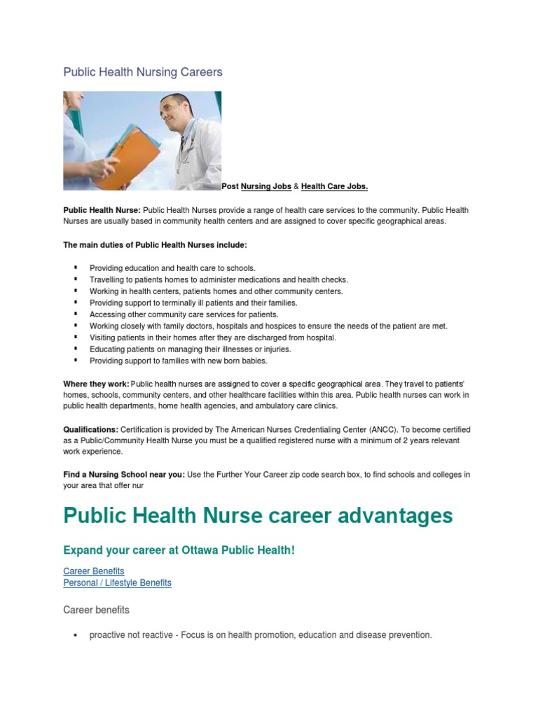 Public Health Nursing Careers Docshare
