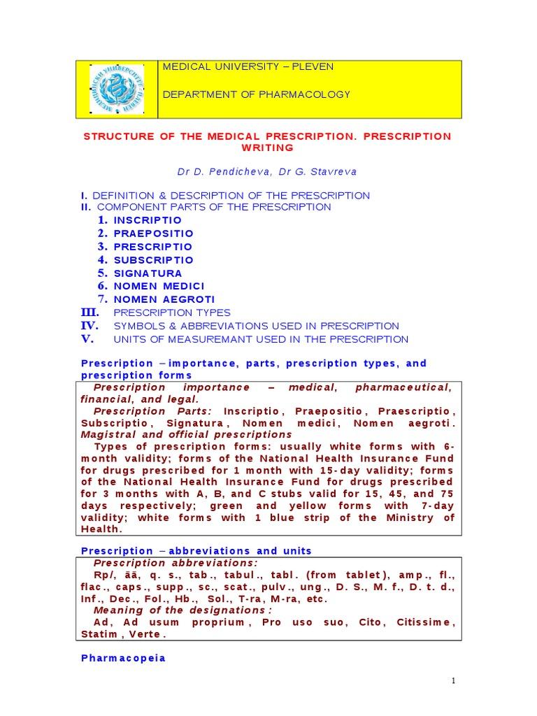 Download Structure Of The Medical Prescription Prescription Writing