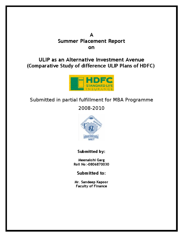 hdfc standred life insurance finance mba project Hdfc standard life insurance company is analysed on this page in terms of its competitors, swot analysis and stp.
