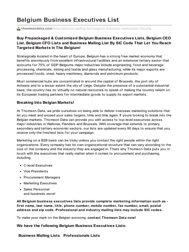 Belgium Business Executives List - DocShare tips