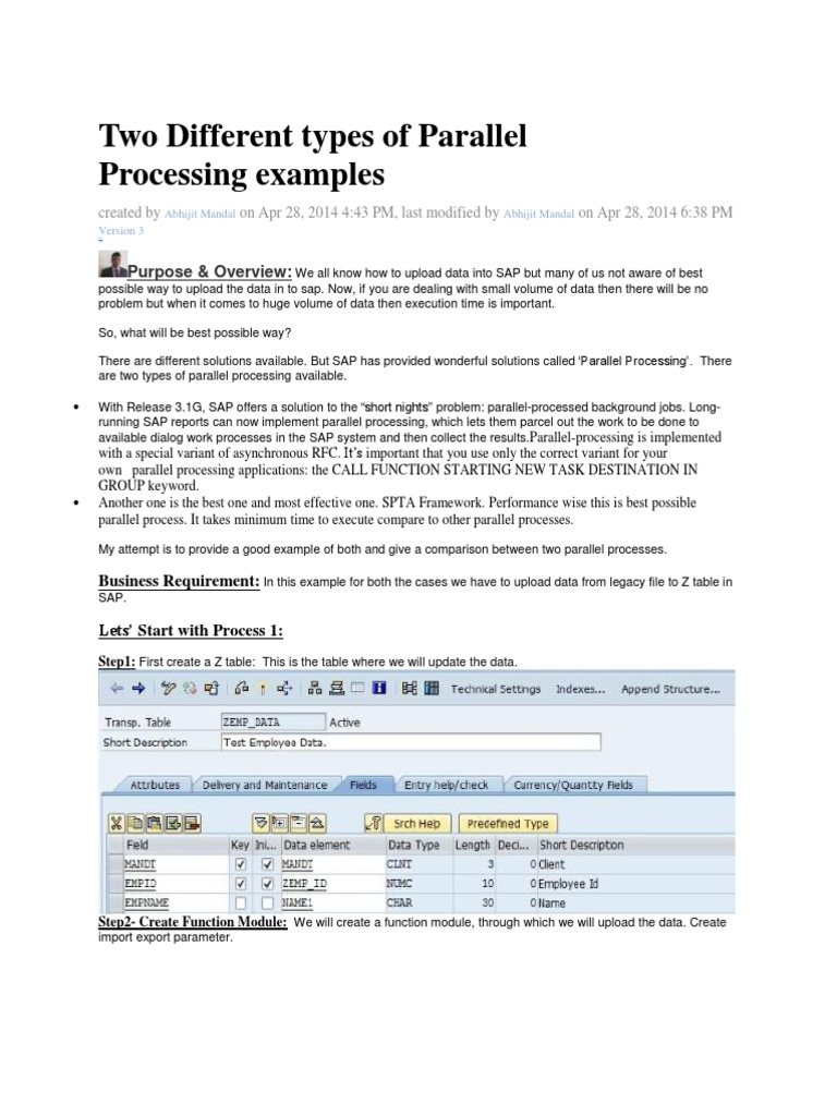 Two Different Types Of Parallel Processing Examples In Sap