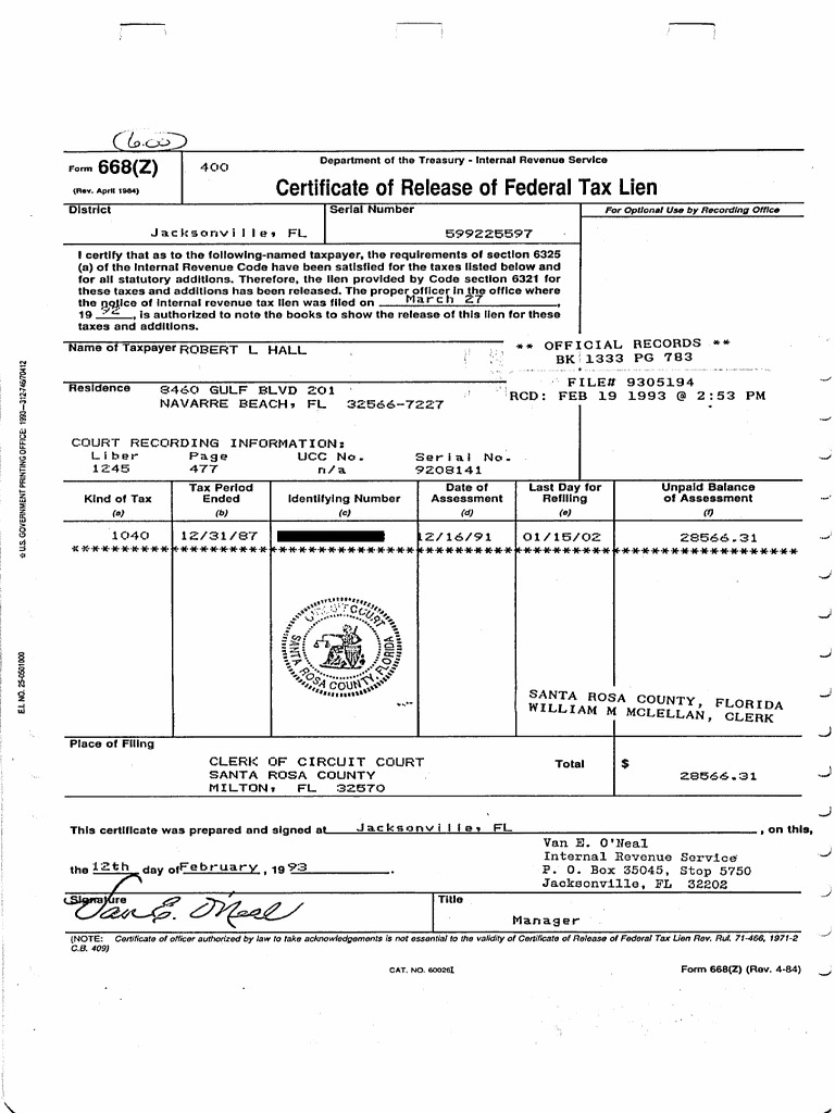 Certificate Of Release Of Federal Tax Lien Docshare