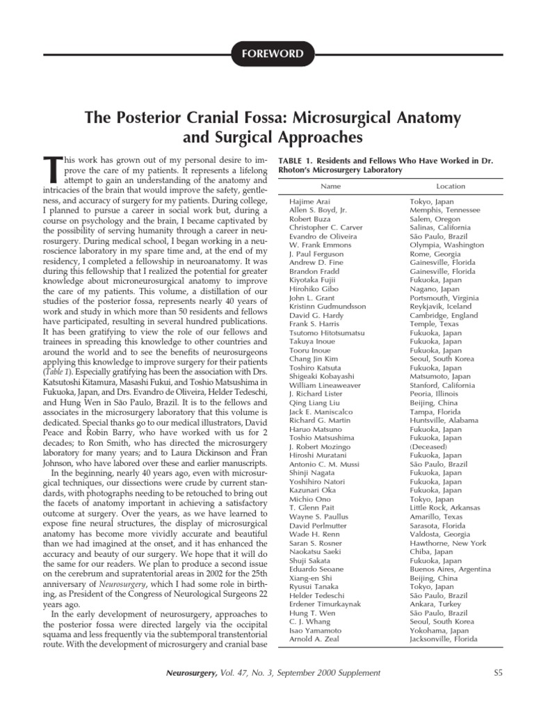 The Posterior Cranial Fossa: Microsurgical Anatomy and Surgical ...