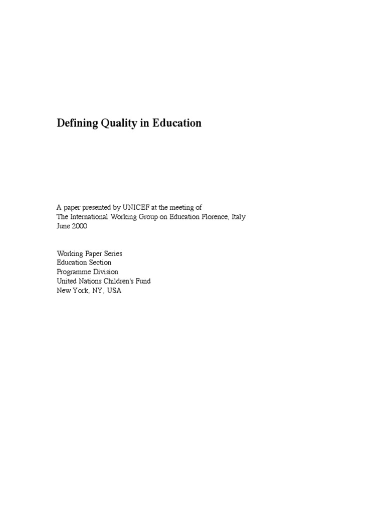 defining quality in education
