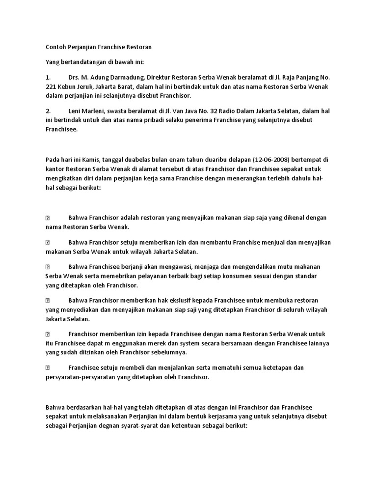 Contoh Perjanjian Franchise Restoran Docsharetips