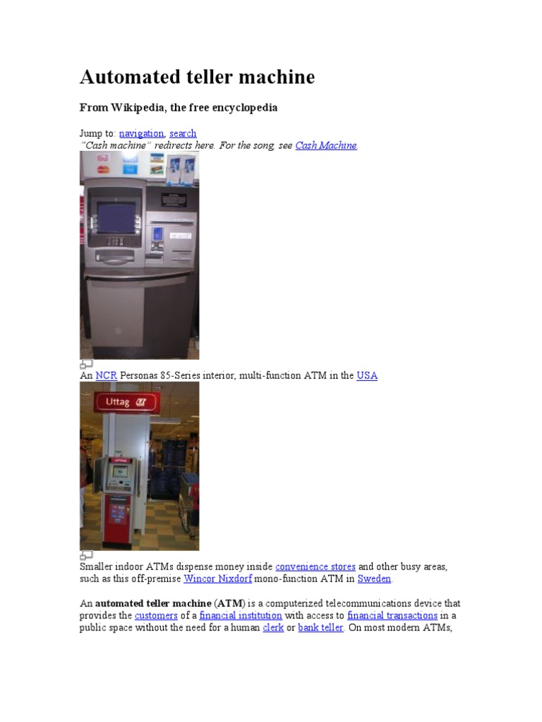 Automated Teller Machine - DocShare tips