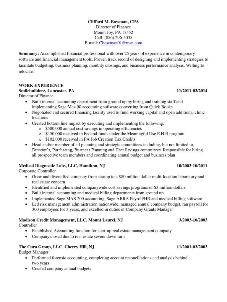CFO Controller VP Finance in Orlando FL Resume Clifford Bowman ...