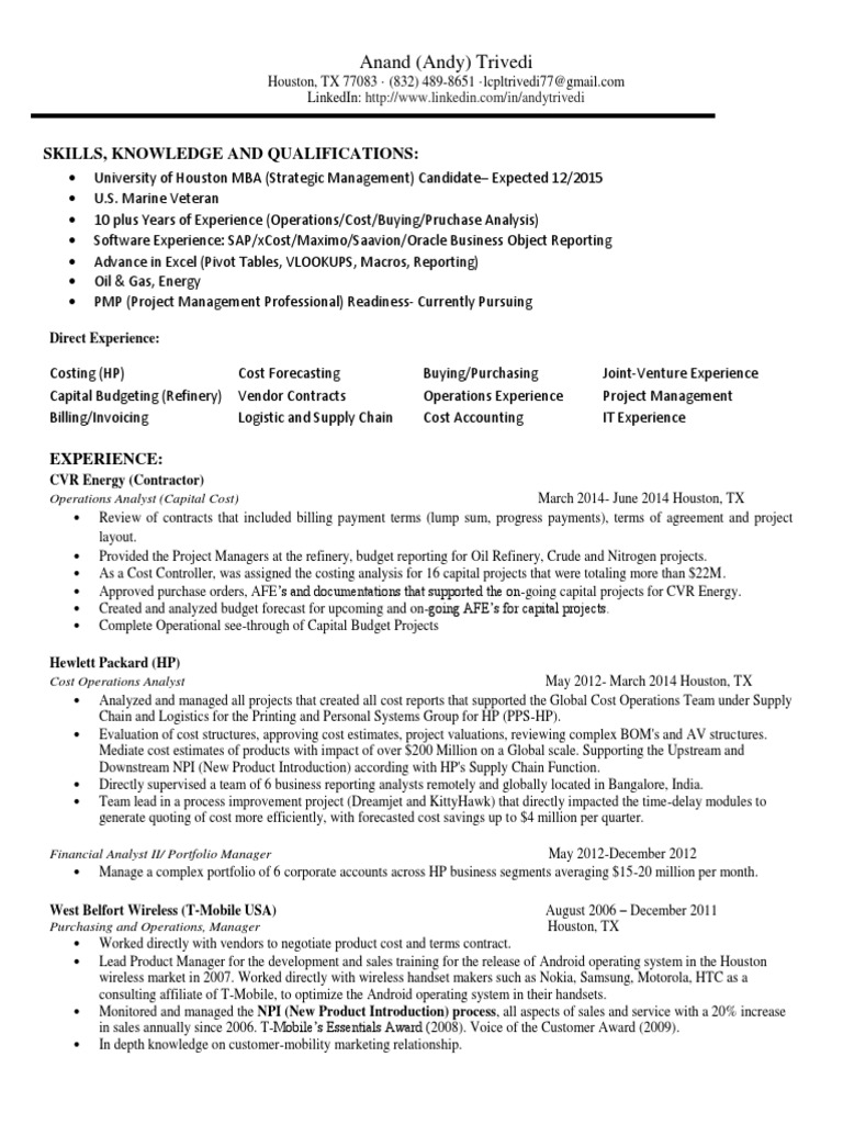 Operations Analyst Oil Energy in Houston TX Resume Anand (Andy ...