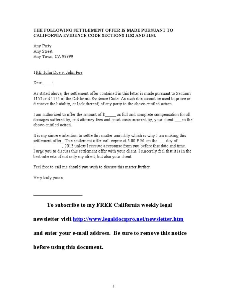 sample settlement offer for california - Sample Settlement Letter