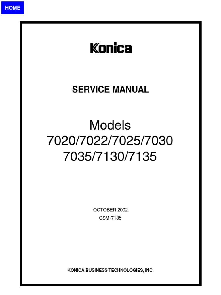 Konica Minolta 7020 7022 7025 7030 7035 7130 7135 Factory Repair Service  Maintenance Manual Oct