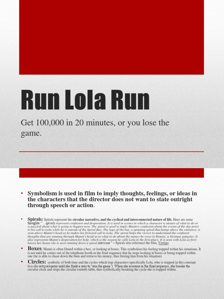 run lola run essay conclusion An essay on the symbolisim in run lola run for my film studies class (2004, april 20) in writeworkcom retrieved 14:04 by the conclusion of the scene.