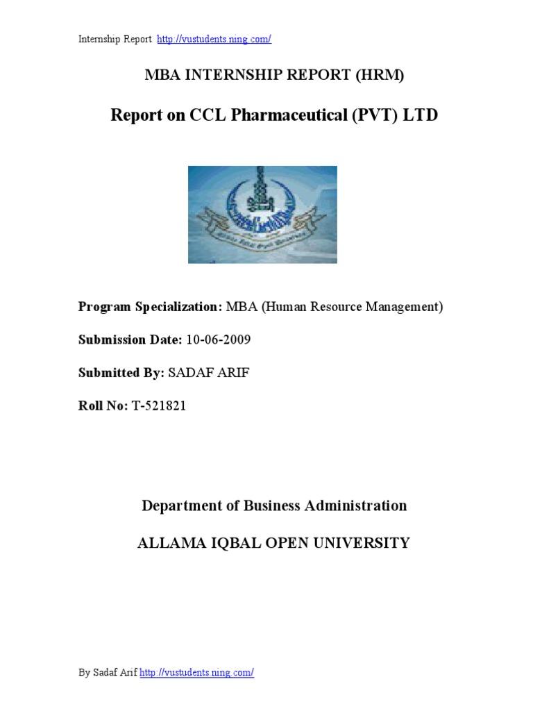 High Quality CCL Pharmaceutical HRM Internship Report