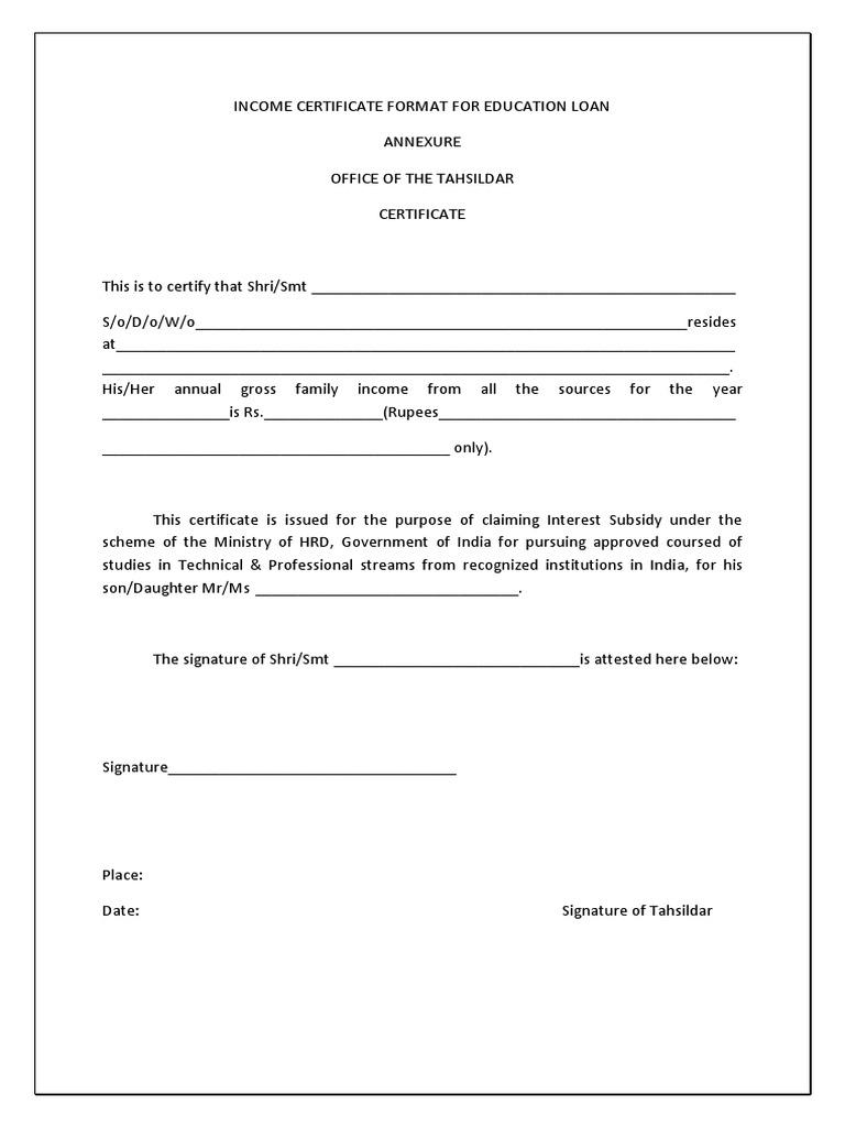 annual income certificate format