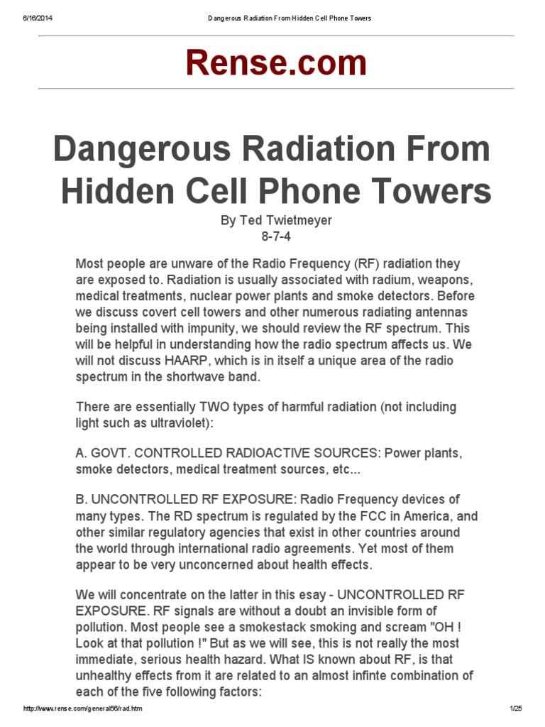 health effects from cell phone tower radiation essay This post lists mobile phones health hazards, risks, implications, effects, dangers of using cell phones and smartphones - and safety measures to take.