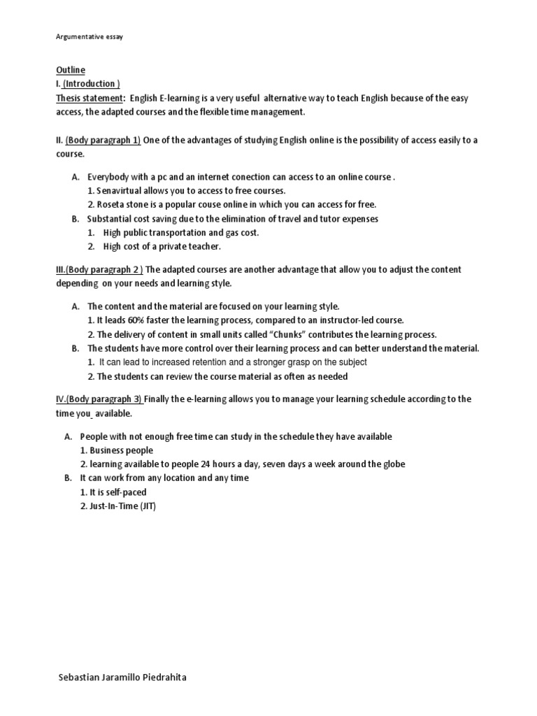 argumentative outline and essay How can the answer be improved.