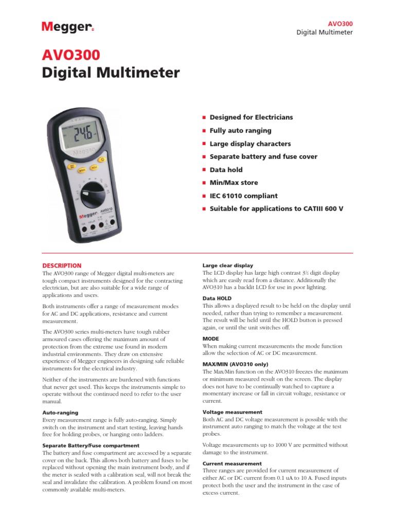 Megger Avo300 Digital Multimeter Catiii 600v - DocShare tips