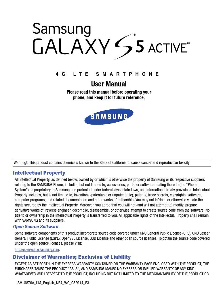 Download Verizon Samsung Galaxy S6 Manual SM-G920V, English