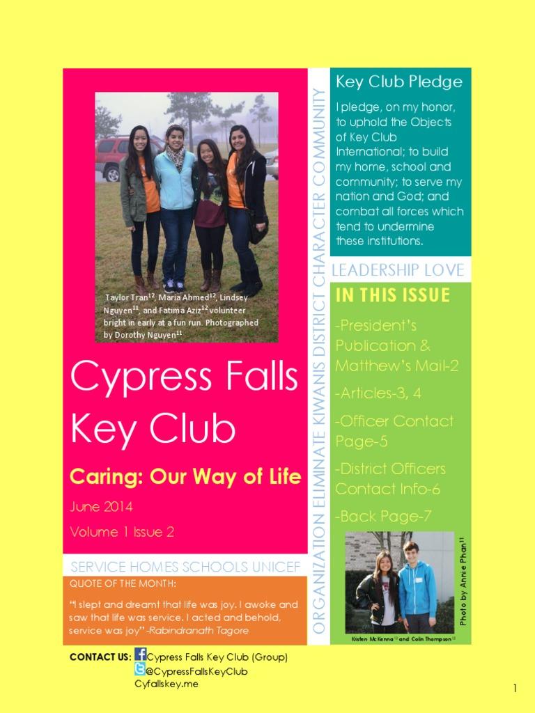 Cypress Falls Key Club June 2014 Newsletter