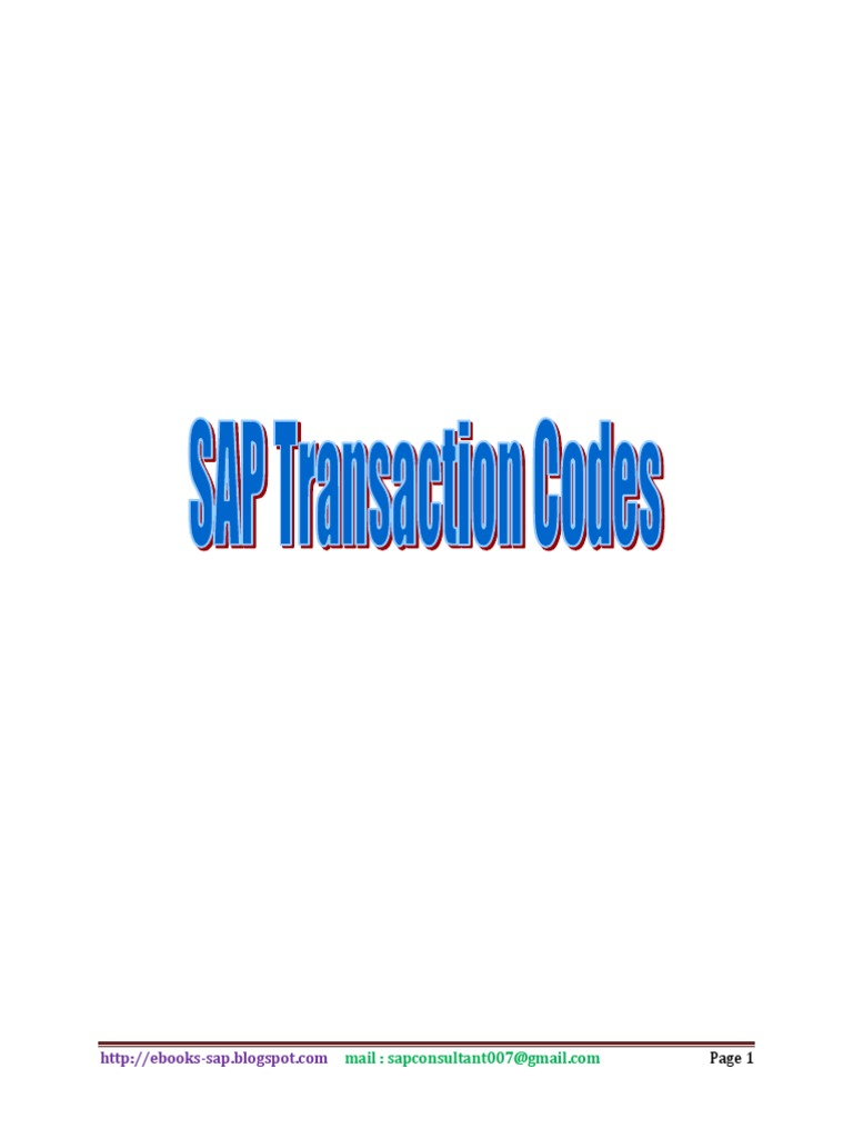 16000+ SAP TCODES - DocShare tips
