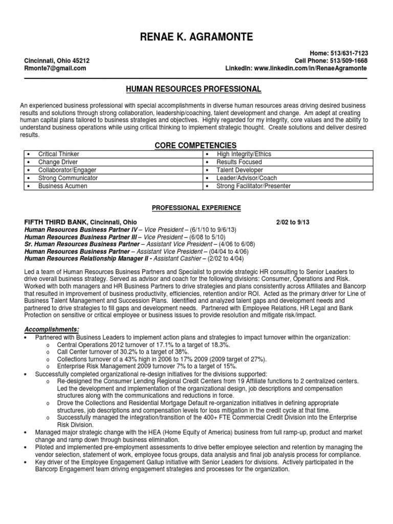 Download Human Resource Manager Compensation Benefits In Cincinnati Assistant Vice President Of Resources Resume