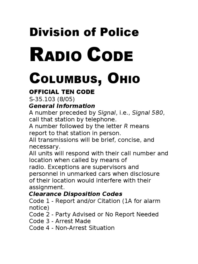 Columbus Division of Police 10 Codes - DocShare tips
