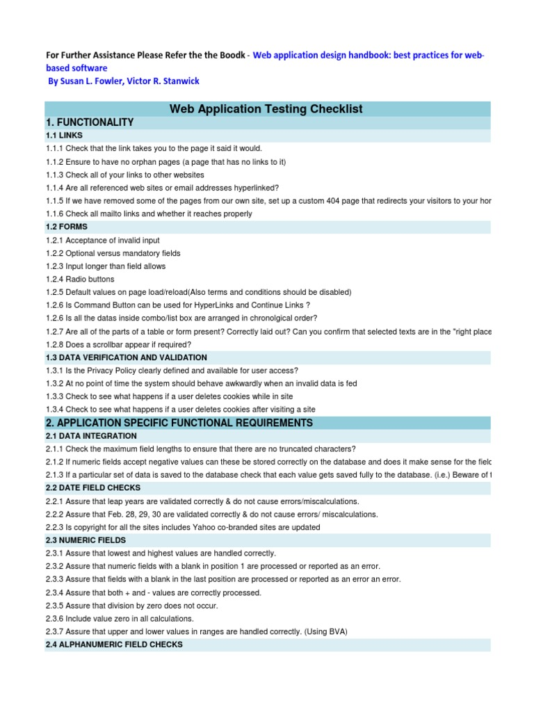 Download Web Application Checklist Docshare Tips