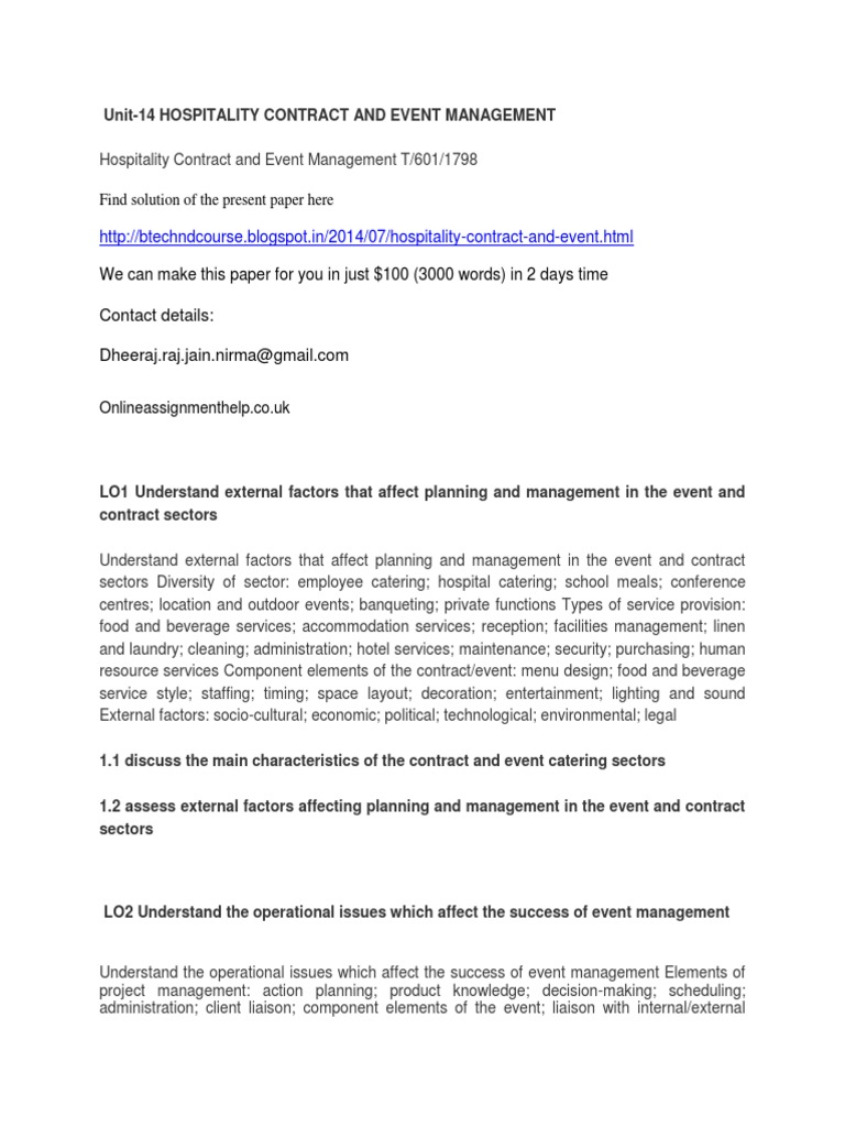 unit 14 hospitality contract and event management docsharetips