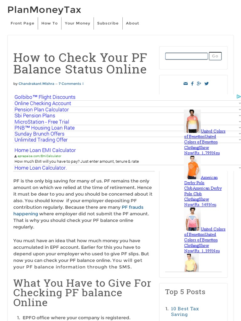How To Check Your Pf Balance Online Checking Account