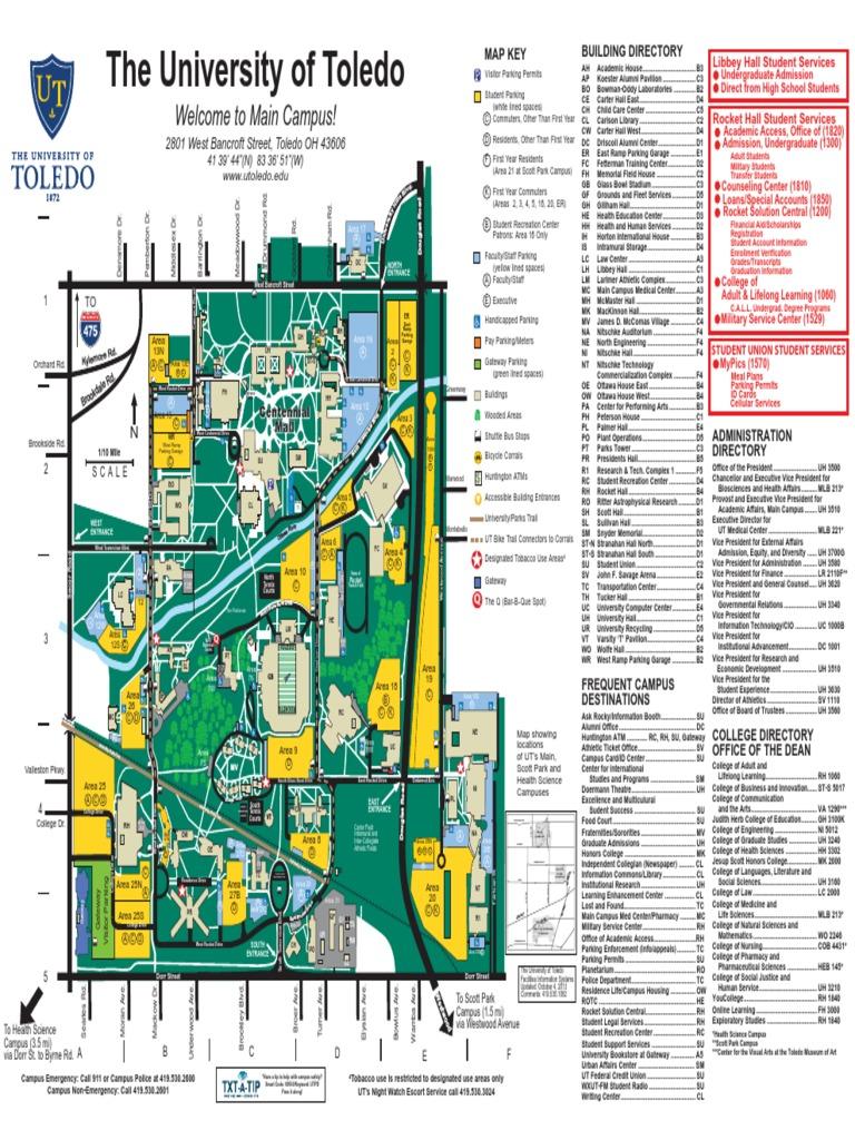 Main Campus Map Univ Toledo Docshare Tips