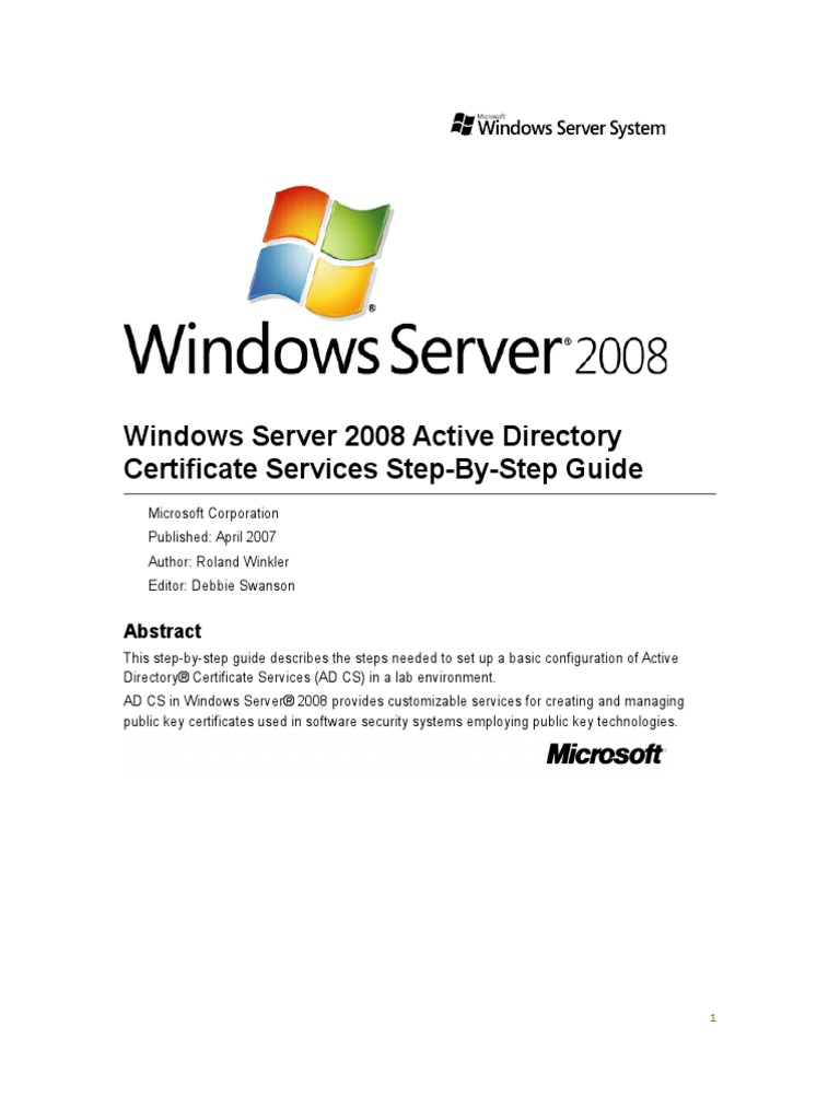 Windows server 2008 active directory certificate services step by windows server 2008 active directory certificate services step by step guide docshare 1betcityfo Choice Image