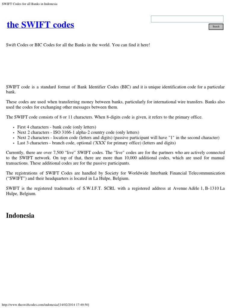 SWIFT Codes for All Banks in Indonesia - DocShare tips