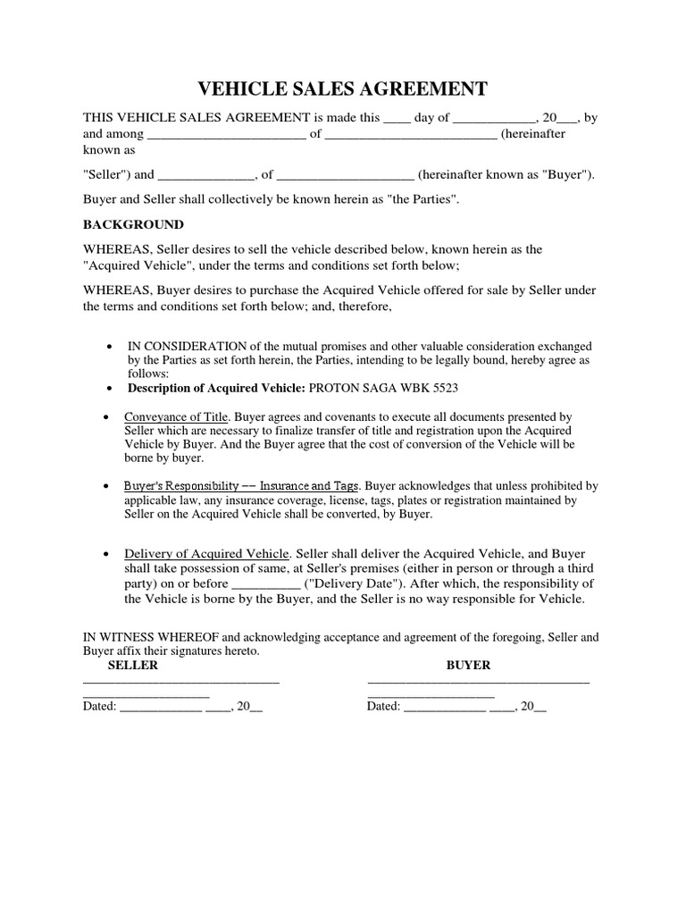 Vehicle Sales Agreement Docshare