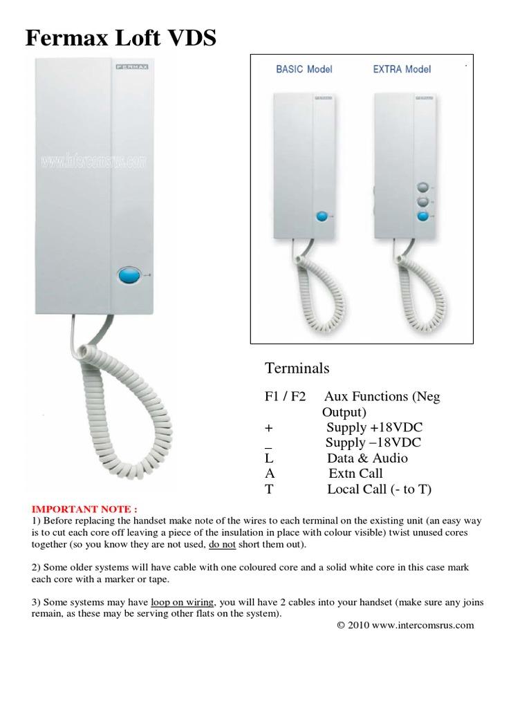 Fermax Loft Vds Door Entry Handset Data Sheet Docshare