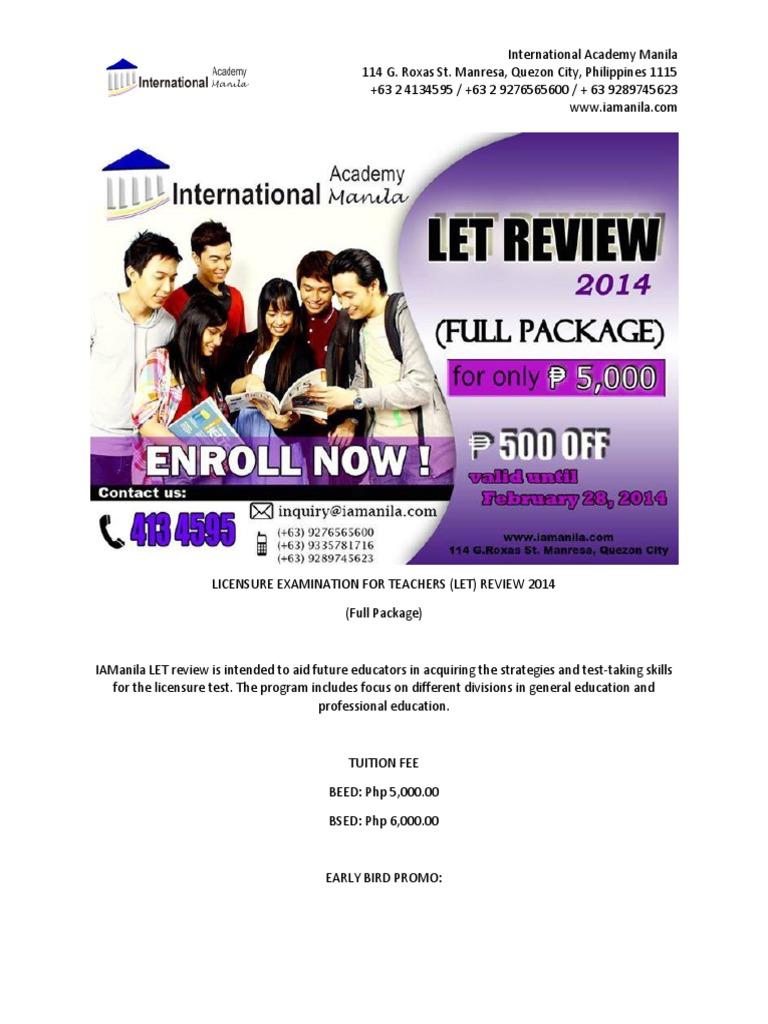 licensure examination for teachers essay Licensure examination for teachers (let) professional education reviewer [set 2 - part 1] licensure examination for teachers (let) professional education revie.