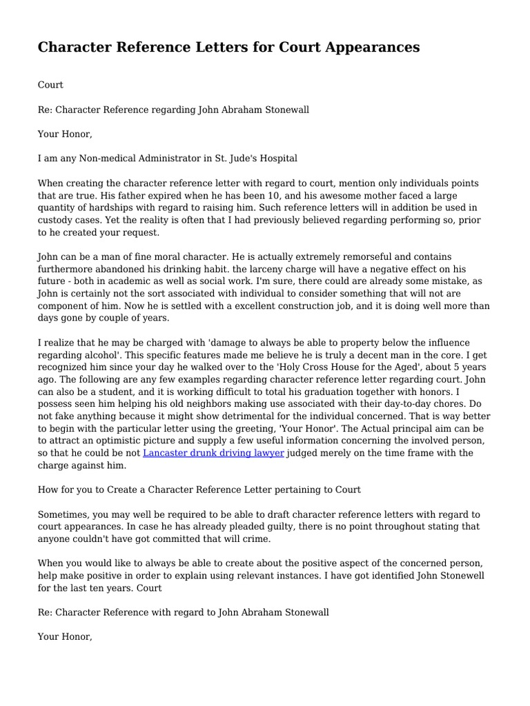 Character Reference Letters - Examples