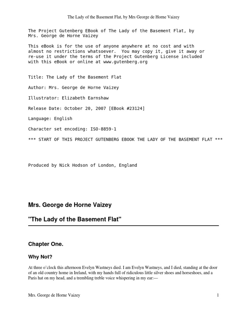 the lady of the basement flat vaizey george de horne