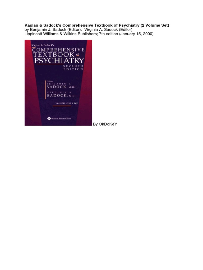 Kaplan And Sadocks Synopsis Of Psychiatry 11th Edition Pdf
