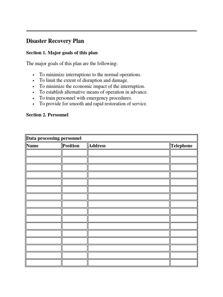 Download Data Center Disaster Recovery Plan Template From Search ...