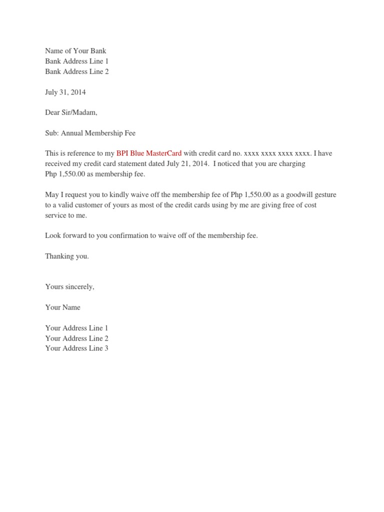 Credit Card Fees Letter Docshare Tips