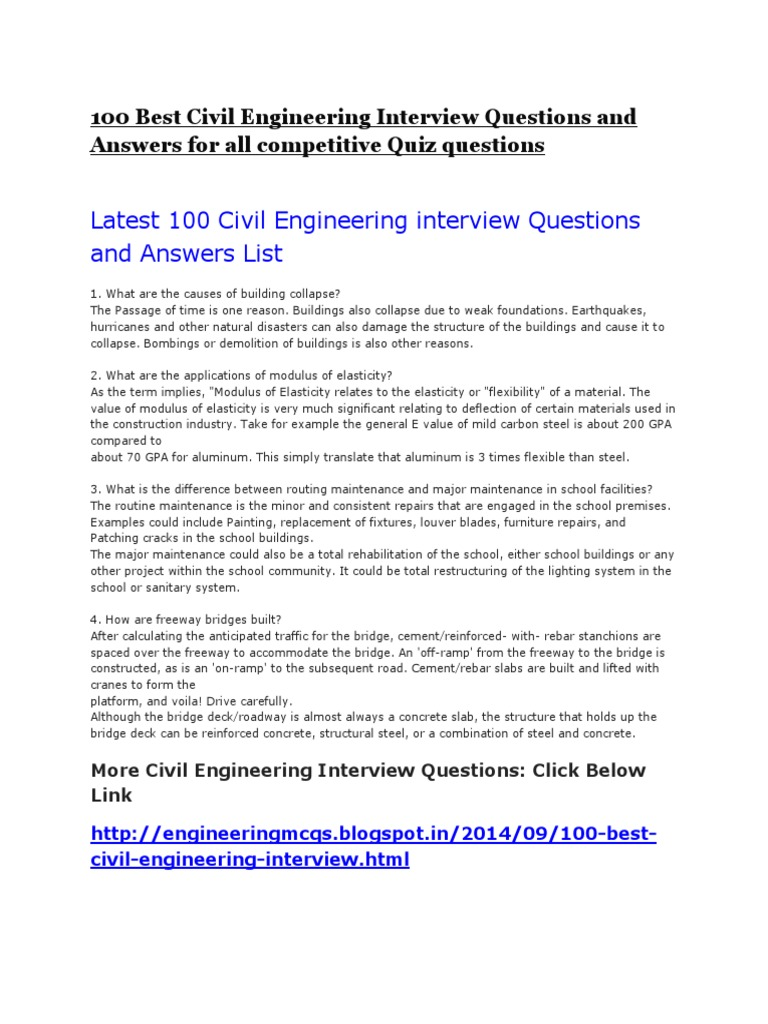 Civil Engineering Interview Questions - DocShare.tips