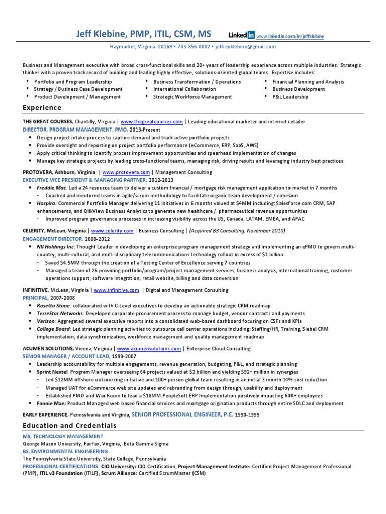 Vp Program Management Pmo In Washington Dc Resume Jeff Klebine