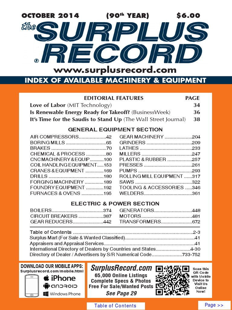 October 2014 Surplus Record Machinery Equipment Directory Nicholas Keith Ralph 36mm Date Nk8003
