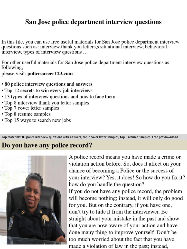 san jose police department interview questions docshare tips