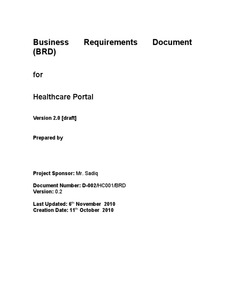 Healthcare Project Brd Docshare