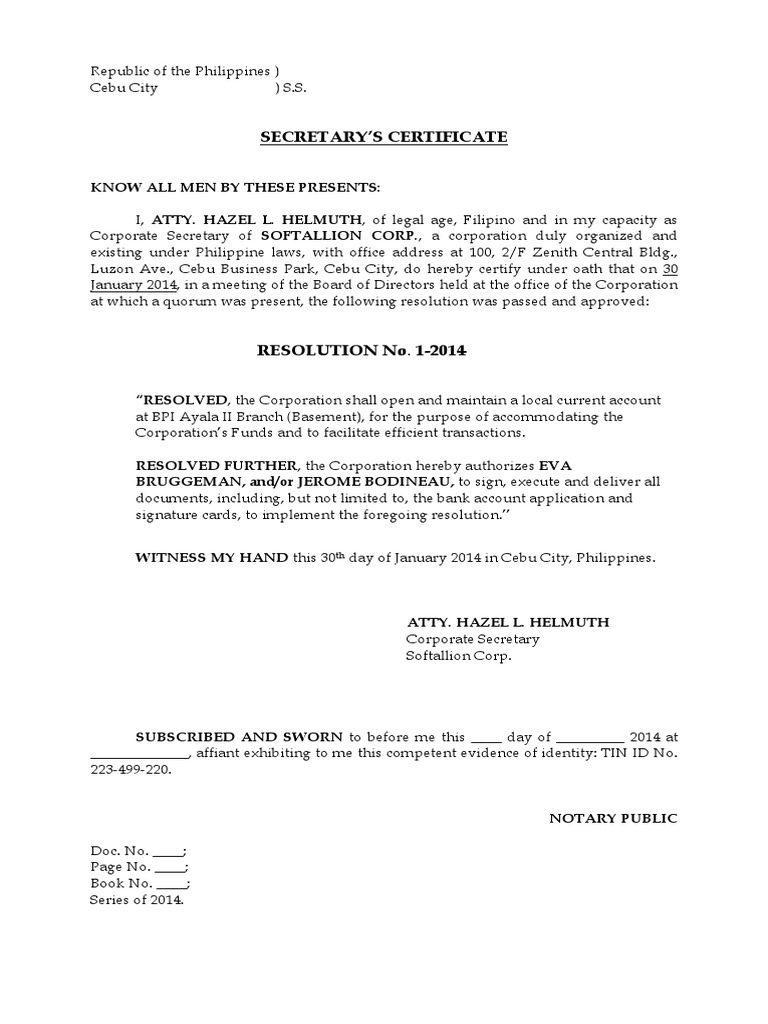 Secretary's Certificate to Open A Bank Account - DocShare tips