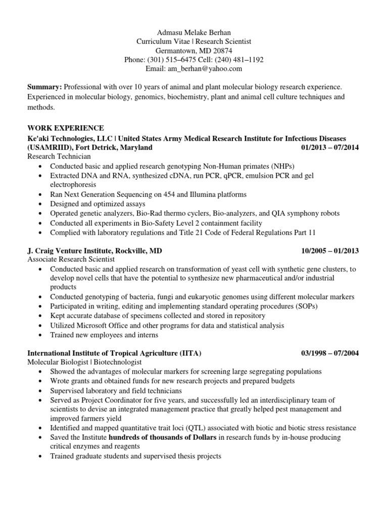 Molecular Biology Resume - twnctry