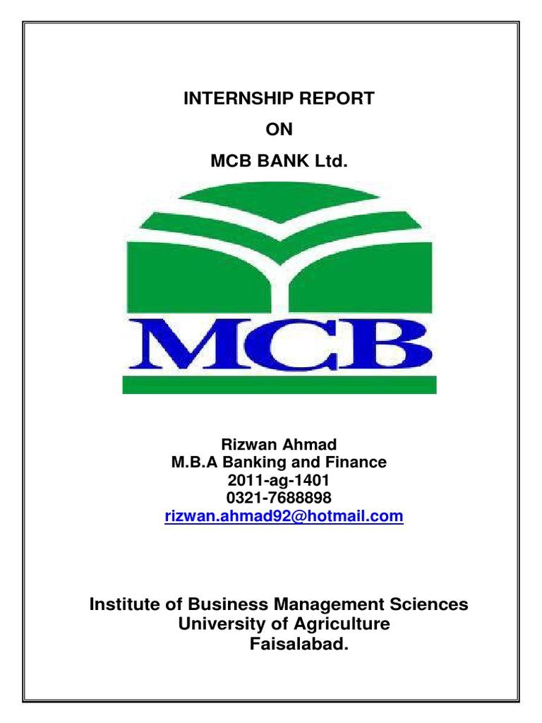 Internship Report MCB-Bank Ltd - DocShare tips
