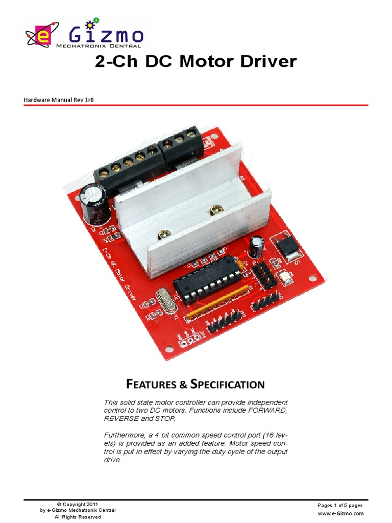 Download 2 Channel Dc Motor Driverpdf Forward And Reverse Circuit