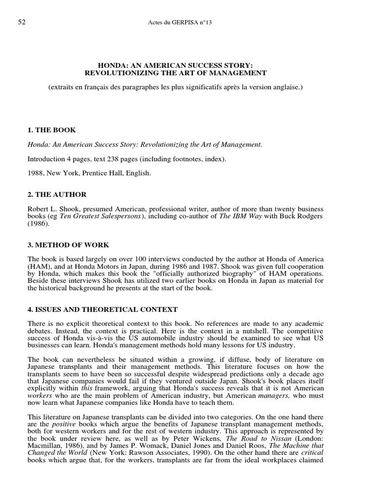introduction of managment honda