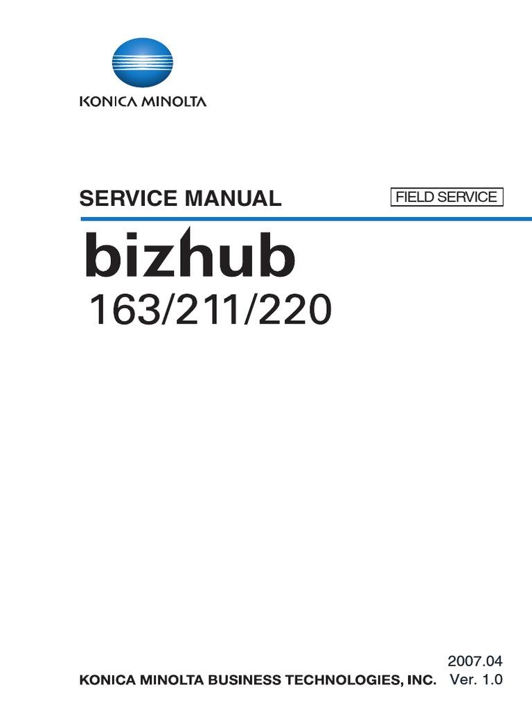 Konica Minolta Bizhub 163 211 Sm Field Service Manual